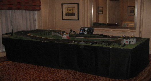 One of our fully landscaped Scalextric tracks available for hire throughout the UK