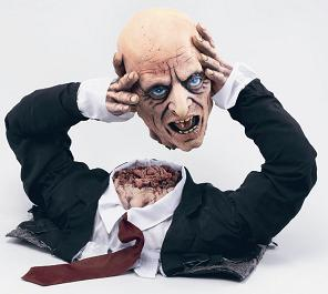 A decapitated man holding his own head, one of our range of props supplied with our stalls, or available for hire.